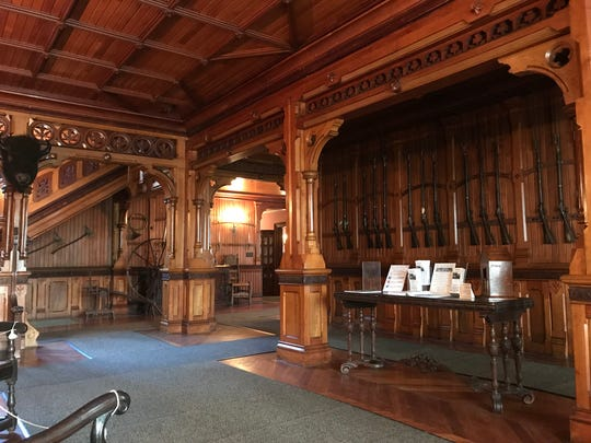 The gun-lined great room welcomes visitors to Ringwood