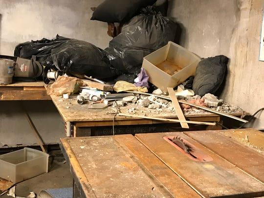 Debris in an unlocked maintenance room in the basement of 447 Thurston Road.