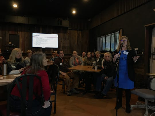 Liz Albertson, senior planner with the Metropolitan Planning Commission, leads a public presentation on the Gov. John Sevier Scenic Highway Corridor March 4 at SoKno Market.