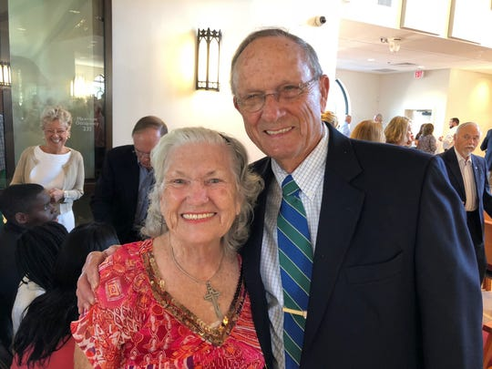 Ellen Flanagan with Fred Griffin at the consecration of St. Paul's Church, the new Anglican chuch at 999 Flamevine Lane in Vero Beach.
