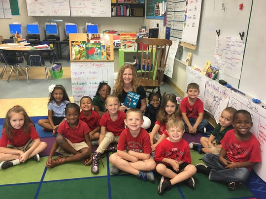 Meredith Egan with kindergarten class.
