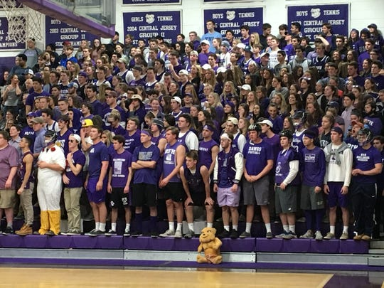 "The Rumson-Fair Haven ""Dawgpound"", one of the best student sections in the Shore Conference, was out in full force on March 5, 2018 for the NJSIAA Central Group II final against Carteret"