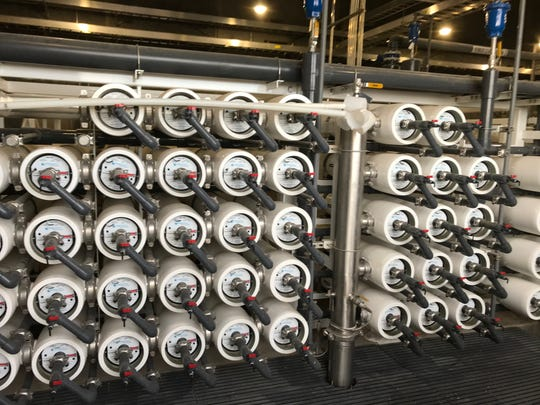 Water is pumped at high pressure through filters to clean wastewater through reverse osmosis at the Hamby Water Reclamation Facility.