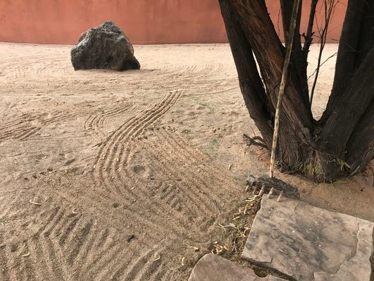 The zen garden outside the spa at Red Mountain Resort