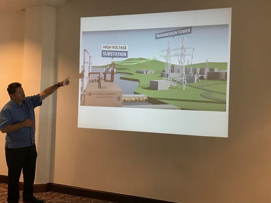 Marcel Camacho, local representative of Karpowership, shows how a power ship is connected from substation to transmission tower.  Representatives for Karpowership, presented a possible solution of a floating power plant to address Guam's future power needs yesterday morning at Fiesta Resort Guam.