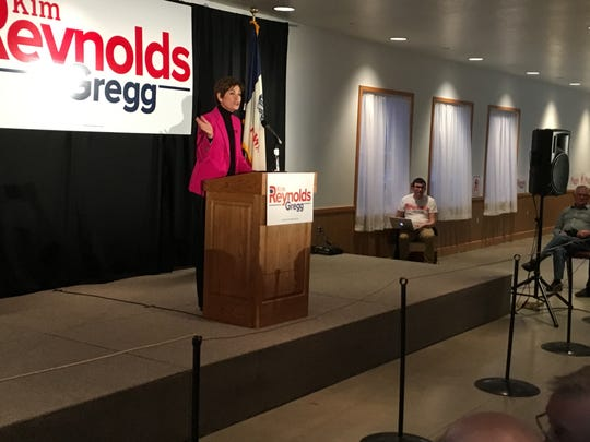 Gov. Kim Reynolds kicks off her campaign with a hometown crown in Osceola on March 7, 2018.