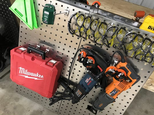 Power tools and safety glasses are ready for the first students at Horizon Roofing's new training center in Waite Park.