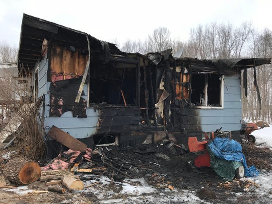 A home east of Wausau was gutted by fire Wednesday, March 7, 2018.