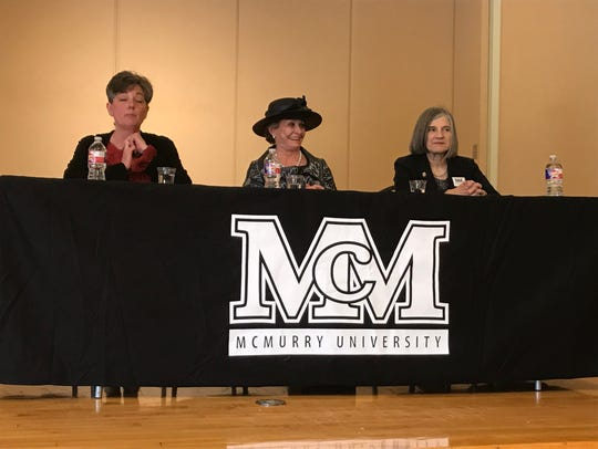 Betty Hukill, left, leads a panel discussion on women and leadership with Dian Graves Stai, of the Dian Graves Owen Foundation, and McMurry University President Sandra Harper on Thursday.