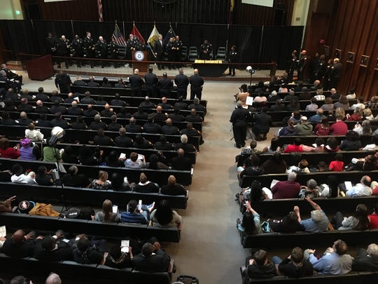 An overhead view of the Memphis police promotion ceremony on March 8, 2018.