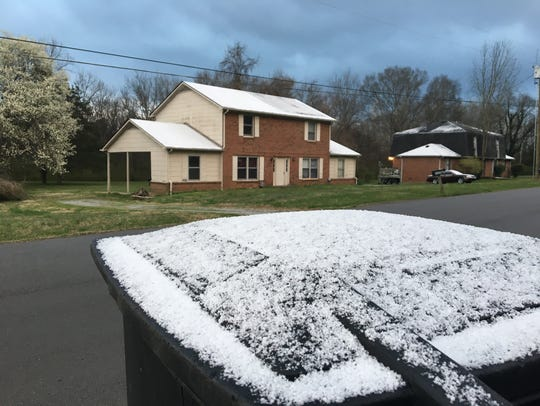 Snow flurries accumulated in southern Rutherford County