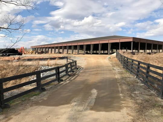 A new covered horse facility is among the construction projects underway at the Tryon International Equestrian Center, host of the 2018 FEI World Equestrian Games in September.
