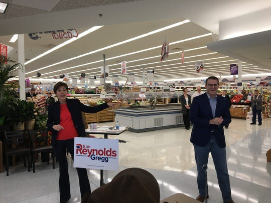 Gov. Kim Reynolds holds a campaign event at the Mount Pleasant, Iowa, Hy-Vee grocery store on Thursday, March 8, 2018.