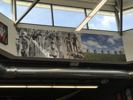 A photo mural depicting how far RAGBRAI has come from