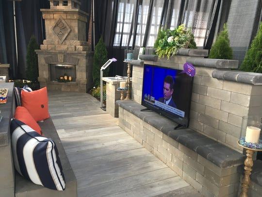Outdoor entertainment centers with televisions and other electronics, such as this one from the 2017 Indiana Flower & Patio Show, need to be protected from the elements.