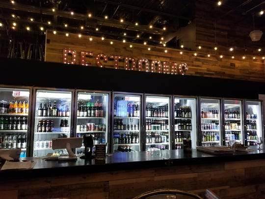 The Plank Pizza Co Beer Parlor in Saddle Brook has a selection of more than 300 bottled beers displayed in a row of glass refrigerators in the bar area.