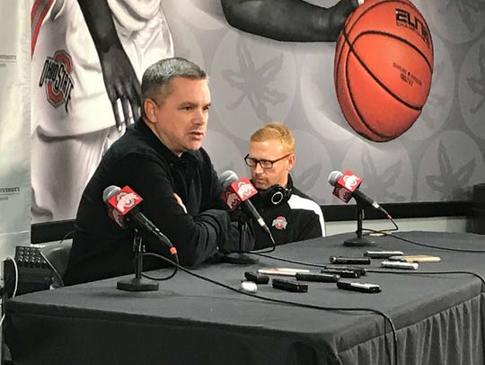 Ohio State men's basketball coach Chris Holtmann speaks