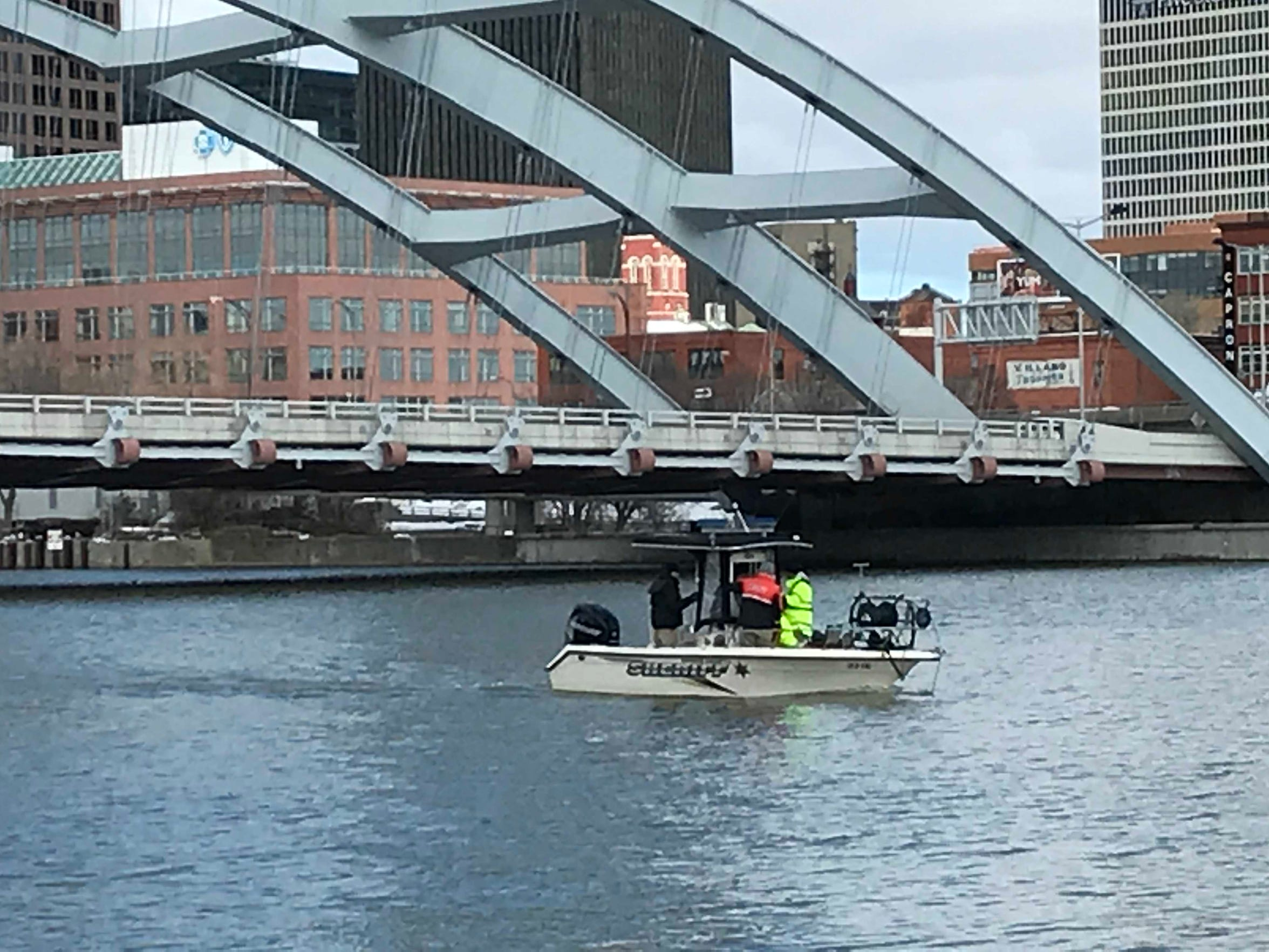 A watercraft from the Monroe County Sheriff on the Genesee River, March 13, 2018 as part of the search for missing teen Trevyan Rowe.