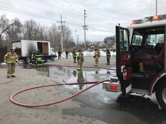 Firefighters put out a box truck fire at Circle 3 Farms on Route 23 March 12, 2018 in Pequannock that began after a live wire fell on it. Emergency personnel from Riverdale and Pequannock responded.