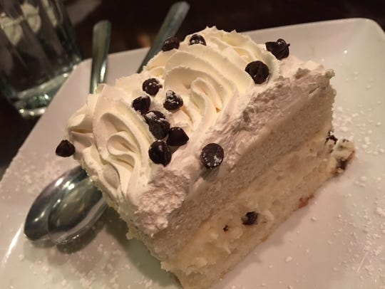 Cassata cake at Amici's was not terribly sweet, filled