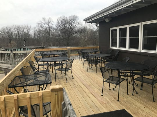 A new deck around the former Fall Creek Golf Club at Pendleton Falls Park is among improvements Eddie Sahm has made tot he building, which has become Big Lug Country Pub. The pub centers Sahm's plans for Camp Big Lug, a beer camp for adults.