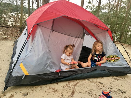 The Guidrys camped in a tent at South Toledo Bend State Park.