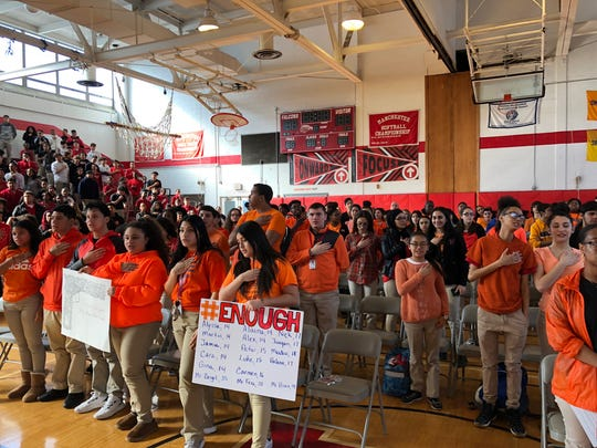 Students from Manchester Regional High School in Haledon, which serves students from Haledon, North Haledon and Prospect Park, held an indoor protest in response to the Florida school shooting last month during the National School Walkout on Wednesday, March 14, 2018.