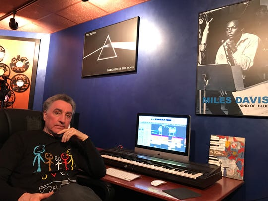 """Producer George Cortese hangs out in his Verona basement's studio. He and rapper James Murphy Jr., both Paterson natives, released """"Common Sense"""" after the Florida school shooting on Feb. 14, 2018."""