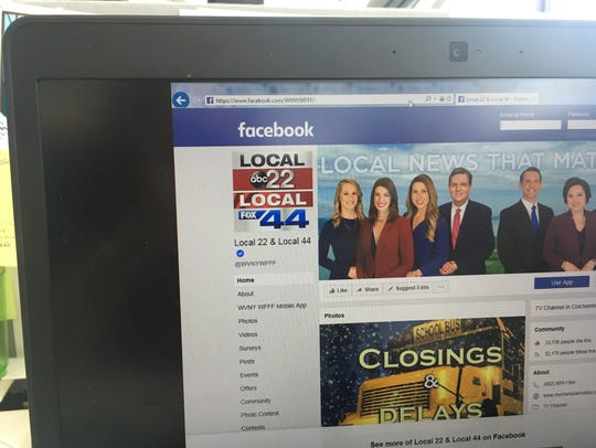 The Facebook page of local Fox 44 and ABC 22 television