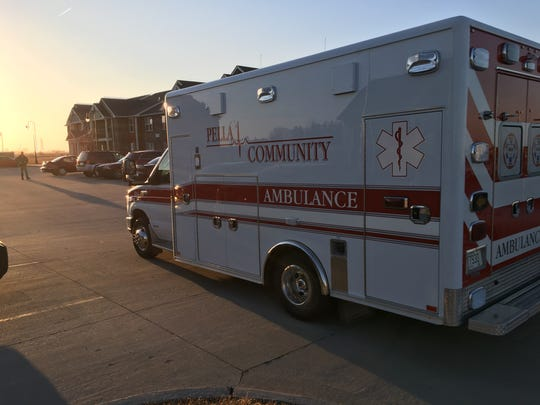 An ambulance arrives at the scene of a police standoff