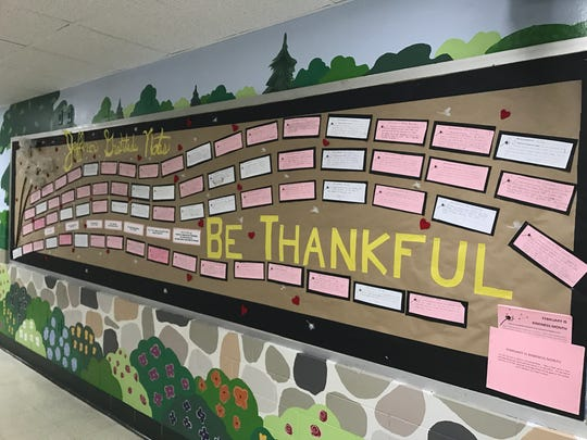 "More than 300 Gratitude Notes flooded Jefferson School during ""Kindness Month"" in February, with families expressing heartfelt thanks to Jefferson staff."