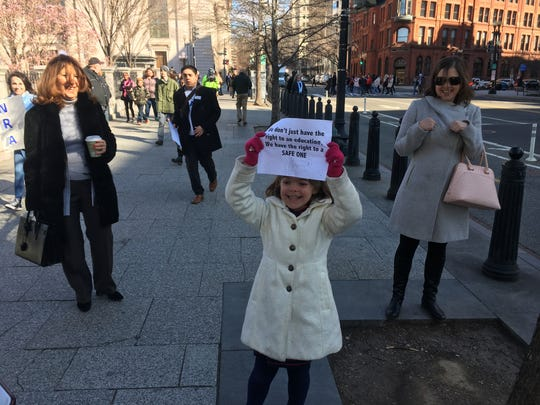 Celeste Roselli joined hundreds of students marching from the White House to the U.S. Capitol to protest for gun-control measures.