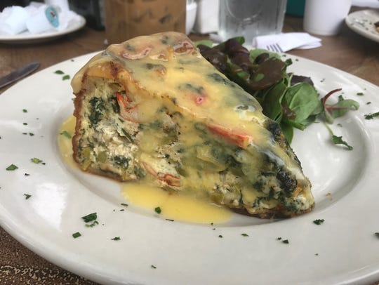 Lobster and crab quiche smothered in Hollandaise from