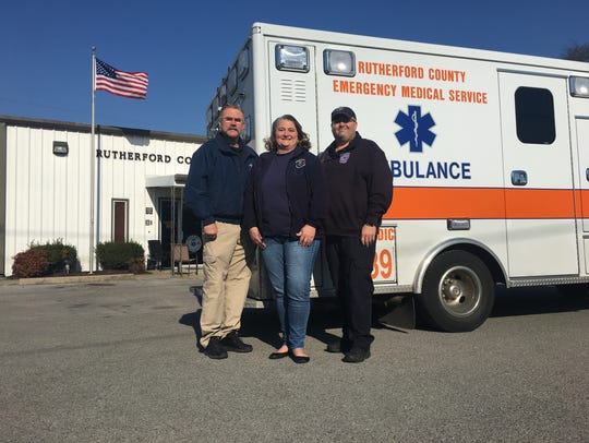Carrie Fitzgerald, center, a Rutherford County Emergency