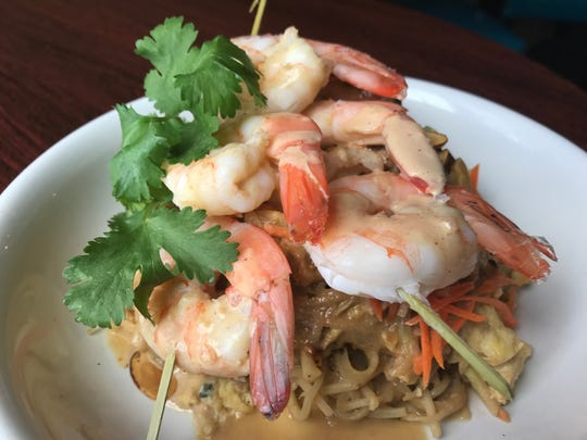 Kohlrabi Pad Thai with shrimp at a'Bravo in Bellevue