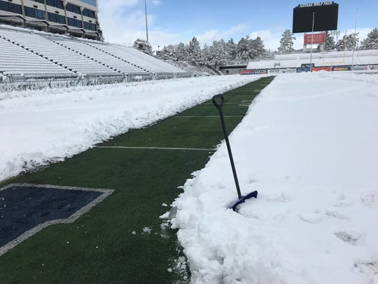 A path was cleared Friday morning on the football field at Mackay Stadium.