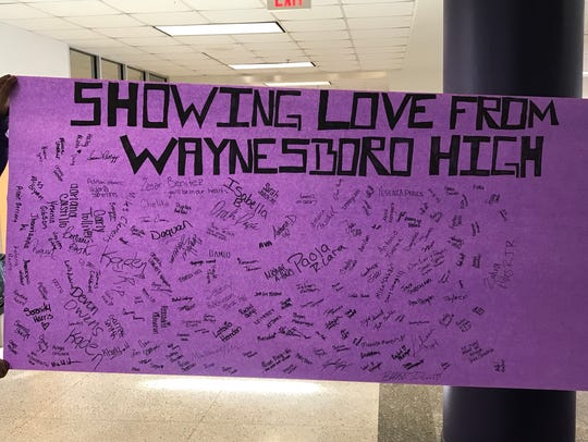 Waynesboro High School students signed a banner to