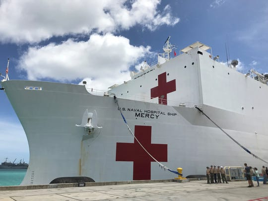 USNS Mercy (T-AH 19) docks at Naval Base Guam on Saturday to gather supplies and personnel before they embark on their 13th voyage of the Pacific Partnership 2018 throughout the Indo-Pacific Region.