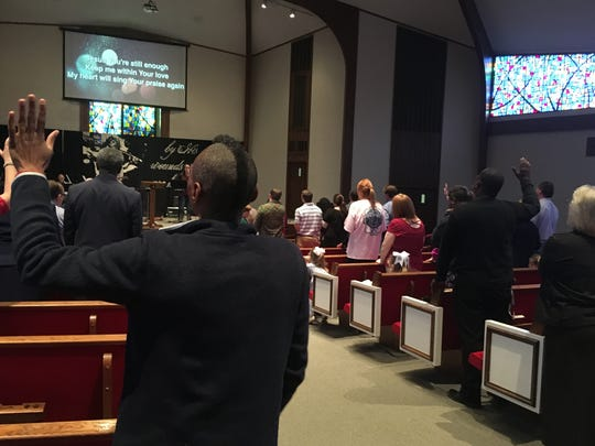 Members of Southside Baptist Church on Raymond Road worship prior to the sermon.