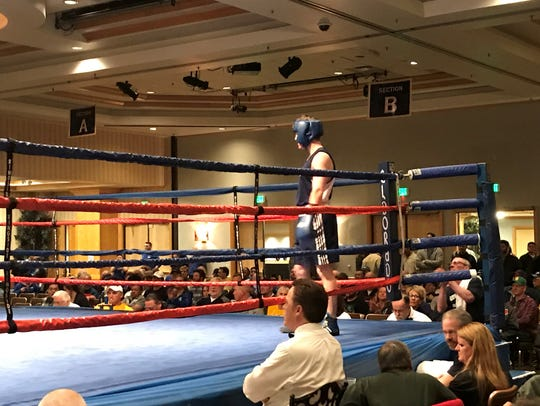 Zach Smith in the ring before his fight Saturday night