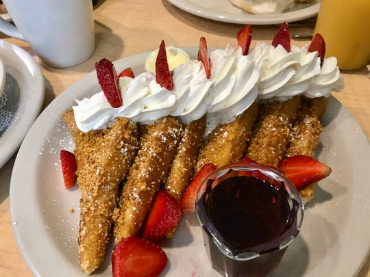 Crunchy French toast ($9.99) at NeNe's Kitchen is made with corn flake batter.