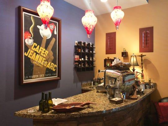 "The ""espresso bar"" features an Italian FAEMA coffee"