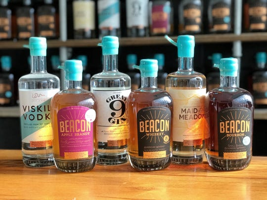 Top sellers from Dennings Point Distillery include  Denning's Rye Whiskey, Beacon Whiskey, Beacon Bourbon,  and Maid of the Meadow, a vodka with herbs and honey.