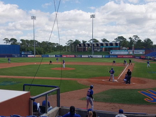 Jacob deGrom pitches in a Mets minor-league game on