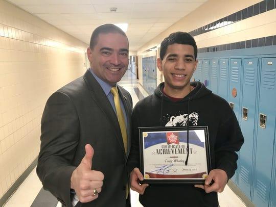 Senator Fred Akshar recognized Candor High School junior