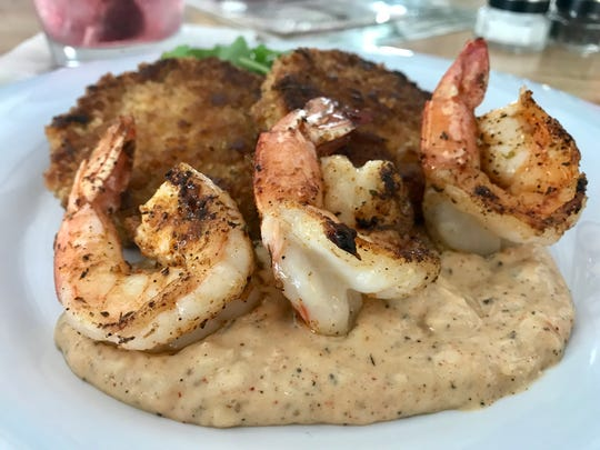 Fried-green tomatoes with a trio of shrimp and remoulade