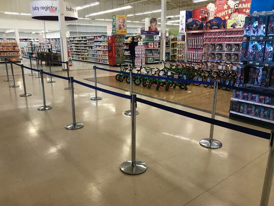 A roped-off area at the Totowa Toys R Us for the expected crowds of liquidation shoppers.