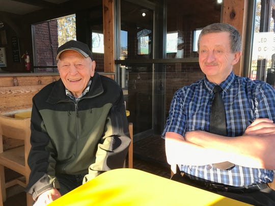 Harold Bender and Dave Miller discuss the 48-year history of Fish & Chips March 22, 2018. Bender, 92, hired Miller, 63, when Miller was just 16.