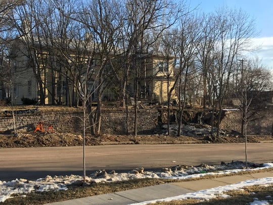 The collapsed wall at 300 N. Duluth Ave. on March 14,