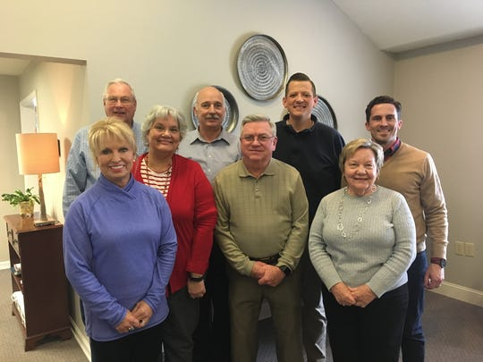 Board members of the Powell High Alumni Association gather after a recent meeting about the 100th gala, set for April 7 at the high school gym. Front row, from left, Laura Bailey, Vivian McFalls, Sam McSpadden, Sandra Davis. Back, Hank Blanton, Mike Bayless, Jon Miller, Justin Bailey. Absent were Sarah McAffry, Rachel Hurley, Lynette Brown, Mary Mahoney and Terri Rose.